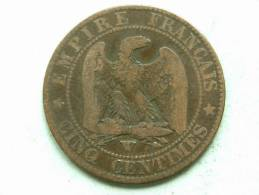 1855 W - CINQ CENTIMES / KM 777.7 ( Uncleaned Coin / For Grade, Please See Photo ) !! - France