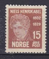 ## Norway 1929 Mi. 151      15 Ø Niels Henrik Abel MH* - Norwegen