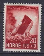 """## Norway 1944 Mi. 297      20 Ø + 10 Ø Postdampfer """"Irma"""" Torpediert MH* - Ungebraucht"""