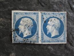 TIMBRE 20 C BLEU  PAIRE NAPOLEON III  N°14 - 1853-1860 Napoleon III