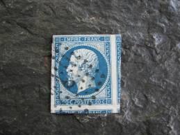 TIMBRE 20 C BLEU  NAPOLEON III  N°14 Y&T GRANDE MARGE - 1853-1860 Napoleon III