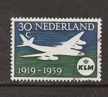 NVPH Nederland Netherlands Pays Bas Niederlande Holanda 730 Used ; 40 Jaar KLM 1959 - Oblitérés