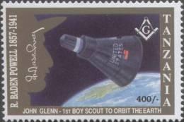 Masonic Lodge / Freemasonry, John Glenn, First Boy Scout In Space Shuttle In Earth Orbit, Scouts, MNH Tanzania - Franc-Maçonnerie