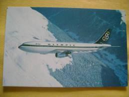 AVION AIRBUS A300 - OLYMPIC - CARTE FORMAT CPA - BON ETAT - Avions