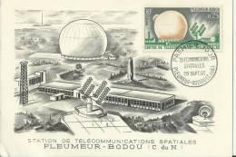 FRANCE 1962 -FD MAXIMUM CARD STATION OF SPACE TELECOMMUNICATIONS-UNUSE  W/ 1  STS OF 0,25 FR.PLEMEUR-BODOU SEP 29 REC112 - Cartes-Maximum