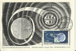 FRANCE 1962 -FD MAXIMUM CARD STATION OF SPACE TELECOMM.1ST COMMU-UNUSE  W/ 1  STS OF 0,50 FR.PLEMEUR-BODOU SEP 29 REC113 - Cartes-Maximum