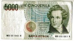 """BILLET ITALIE - 111 - 1985 - 5000 LIRE - BELLINI - OPERA """"NORMA"""" - COLISEE - - [ 2] 1946-… : Repubblica"""
