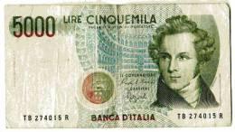 """BILLET ITALIE - 111 - 1985 - 5000 LIRE - BELLINI - OPERA """"NORMA"""" - COLISEE - - [ 2] 1946-… : République"""