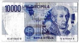 BILLET ITALIE - P.112 - 10000 LIRE - 1984 - ALESSANDRO VOLTA - MAUSOLEE - VARIANTE YEUX CLAIRS - [ 2] 1946-… : République