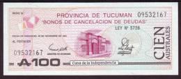 ARGENTINA - Provincia De Tucumán - 100 Australes 1989/91 - Argentinien