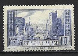 """FR YT 261b """" Port De La Rochelle Type I Outremer Pâle """" 1929-31 Neuf* - France"""