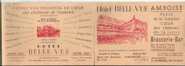 Carte  3 Volets Dép 37  Amboise Publicité Hotel Belle Vue Non Circulée - Amboise