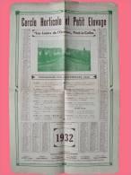 """Calendrier 1932 - Edité Par Le Cercle Horticole Et Petit Elevage - """" Les Loisirs De L'Ouvrier """" Pont -à-Celles   (2611) - Calendriers"""