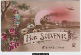 """16230g ARC-AINIERES - """"Bon Souvenir"""" -  Locomotive à Vapeur - 1921 - Frasnes-lez-Anvaing"""