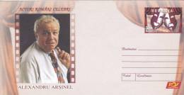 ALEXANDRU ARSINEL ACTOR,THEATRE AND CINEMA,2007,COVER STATIONERY,ENTIER POSTAL,UNUSED,ROMANIA - Cinema