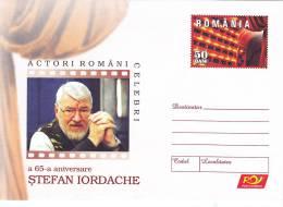 STEFAN IORDACHE,ACTOR OF MOVIE AND CINEMA,2006,COVER STATIONERY,ENTIER POSTAL,UNUSED,ROMANIA - Cinema