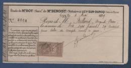RECU DATE DE 1899 AVEC TIMBRE QUITTANCES RECUS ET DECHARGES 10c - ETUDE DE Me ROY NOTAIRE A LIZY SUR OURCQ - Manuscripts