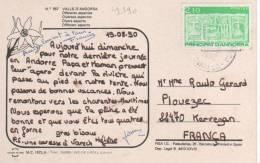Beau Timbre Yvert N° 390 / Carte Du 21/8/90 Pour  La France - Andorre Français