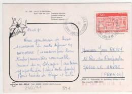 Beau Timbre Yvert N° 391 / Carte Du 24/6/91 Pour  La France - Andorre Français