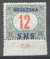 Jugoslawien – Yugoslavia – Issue For Croatia 1918 Postage Due 12 F Bottom Marginal MNH, Exp. VELICKOVIC BPP;Mi. P 30 - Portomarken