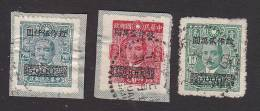 China, Scott #809-811, Used, Dr. Sun Yat-sen Surcharged, Issued 1948 - China