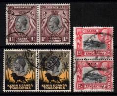 KENYA-UGANDA-TANGANYIKA: GV - 1935 1c, 10c & 15c In Pairs (SG110, SG112, SG113), Fine Used - Kenya, Uganda & Tanganyika