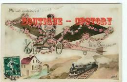 CARTE AQUA PHOTO MONTAGE - Aéroplane - Femme Dans Un Avion - Aviation - Moulin Et Train - Dos Scané - Avions
