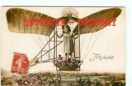 CARTE AQUA PHOTO MONTAGE - Aéroplane - Fillette Dans Un Avion - Aviation - Little Girl - Dos Scané - Avions