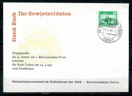 "DDR1985 Propaganda Sonderkarte Befreiung M.Guben Sorben Tagesstempel""Wilhelm-Pieck-Stadt Guben 1,Gubin 1 "" 1 Karte Used - DDR"