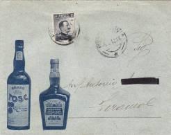 """PISA / TERAMO  6.8.1912 - Cover _ Lettera Pubbl. """" Amaro TOSC - Liquore CHIC """"  Cent. 15 Isolato - Pubblicitari"""