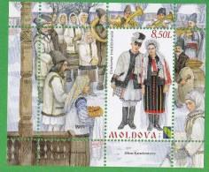 Moldova , Moldawien , Moldau , 2012 , National Costumes And Headdresses ,  PCC. S/s., MNH. - Moldavie