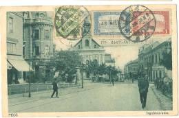PÉCS Irgalmas-Utca Streetlife Sent 1922 Colorful Stamps - Hongarije