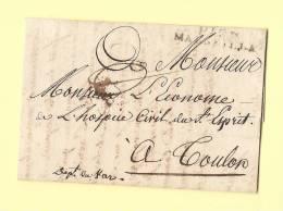 Port Paye De Marseille Pour L'hospice Civil De Toulon - 1810 - Marcophilie (Lettres)