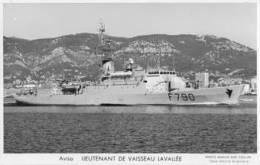 Aviso LIEUTENANT DE VAISSEAU LAVALEE (Marine Nationale) - Carte Photo éd. Marius Bar - Warships