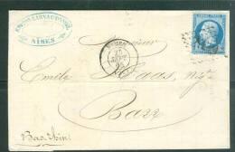 Oblitération GC 2659 Sur Lettre Affranchie Par N° 22 Pour Bare  (DPT67) 25/09/65  Ai8304 - 1862 Napoleon III