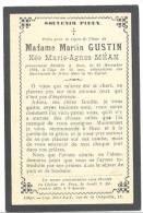 Faire-part De Décès De Mde Marie-Agnès MEAN épouse De Mr. M Gustin - Fooz 1894 (sf65) - Esquela