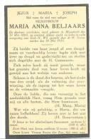 Dodsprentje Mejuffrouw Maria Anna BELJAARS - Maastricht 1885/1931 (sf65) - Geboorte & Doop