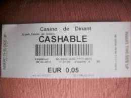 Ticket De 0,05 Euro - Dinant - Casino