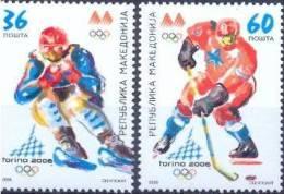 MK 2006-377-8 OLYMPIC GAMES TORINO, MACEDONIA, 1 X 2v, MNH - Winter 2006: Turin