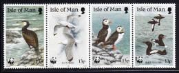 Isle Of Man MNH Scott #402a Strip Of 4 13p Puffins, Black Guillemot, Cormorant, Kittiwake - Birds WWF Emblem - Man (Ile De)