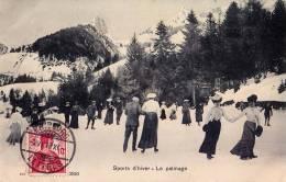 SPORTS D'HIVER : LE PATINAGE / PATINOIRE - CAUX SUR MONTREUX - CARTE POSTALE VOYAGÉE En 1913 - T. C. V. (m-191) - VD Vaud