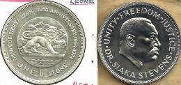 SIERRA LEONE $1 LEONE LION ANIMAL FRONT MAN HEAD BACK 1974 AG SILVER  UNC KM26a READ DESCRIPTION CAREFULLY!! - Sierra Leone