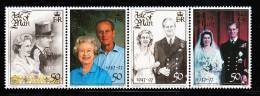 Isle Of Man MNH Scott #761 Strip Of 4 50p Queen Elizabeth II And Prince Philip - 50th Wedding Anniversary - Man (Ile De)