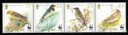 Isle Of Man MNH Scott #860 Strip Of 4 Swallow, Spotted Flycatcher, Skylark, Yellowhammer - Birds - WWF Emblem - Man (Ile De)