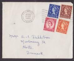 ## Great Britain Mult Franked Deluxe BRAINTREE (Essex) 1963 Cover HOLTE Denmark Queen Elizabeth II. Incl. Booklet Stamp - 1952-.... (Elizabeth II)