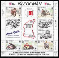 Isle Of Man MNH Scott #476b Sheet Of 5 Plus 7 Labels Tourist Trophy Mountain Course 80th Ann. Overprint Phila Nippon 91 - Man (Ile De)