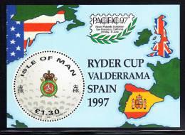 Isle Of Man MNH Scott #756 Souvenir Sheet 1pd30p Round Golf Ball - Ryder Cup Spain 1997 - Man (Ile De)