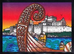 Isle Of Man MNH Scott #775 Souvenir Sheet 1pd Man On Viking Ship Pointing, Fortress - Viking Longships - Man (Ile De)