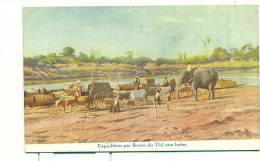"SRI LANKA - CEYLAN - Expédition Par Fleuve Du Thé Aux Indes (elephant/couleur) Indian Tea Syndicate ""the Smart Tea Room"" - Sri Lanka (Ceylon)"