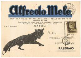 """92-Italia Napoli/Palermo Anni 30/40 Antica Rara CartolinaPubblicitaria  """"Pellicceria Alfredo Mele""""  Viaggiata - Moda"""